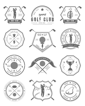 Vector conjunto de palos de golf logotipos, etiquetas y emblemas. Golfista jugando logo vector plantilla de diseño. Organización iconos Concepto torneos de clubes de golf.