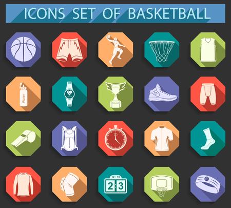 バスケット ボールのアイコンを設定 - 株式ベクトル。記号、およびバスケット ボールのアイコンの大規模なセットです。スポーツ装置、保護、トラ