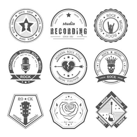 iconos de m�sica: Conjunto de la m�sica rock y estudios de grabaci�n. Elementos de dise�o de la m�sica con el tipo de letra y la ilustraci�n vectorial. Etiqueta del vintage de la roca Bestia (T-Shirt Print). Vectores