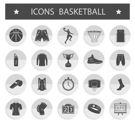 cancha de basquetbol: Vector conjunto de iconos de juegos de deportes - baloncesto.