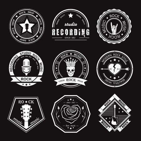 hard rock: Set of rock music and recording studios. Music design elements with font type and illustration vector. Vintage label Rock Beast ( T-Shirt Print ).