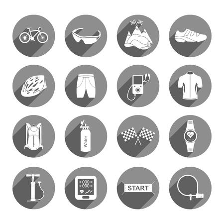 bicicleta vector: Bicicletas. Accesorios de bicicleta vector aislado Conjunto. Piezas de repuesto para los grandes iconos del vector de la bicicleta fijaron - Imagen vectorial.