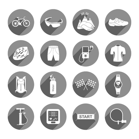 big icons: Bicycles. Isolated vector bike accessories set. Spare parts for bicycle vector big icons set - Stock Vector. Illustration