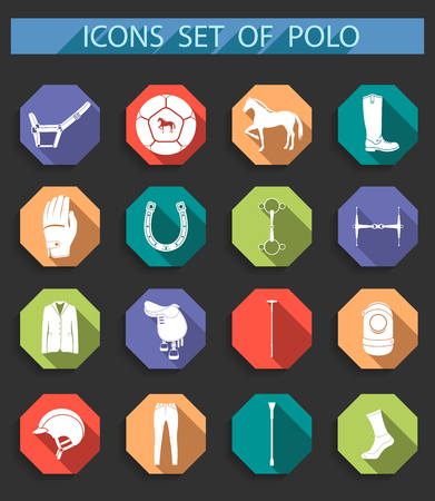 hippodrome: Vector set of icons and symbols for sports games polo. Sign of equipment player - stock vector.