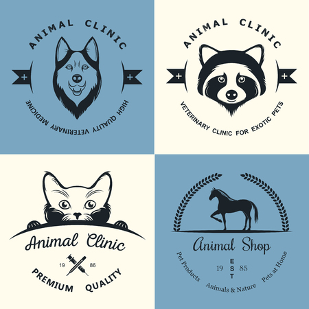 Set of vintage icon and elements for pet shop, pet house, pet and exotic animals clinic.