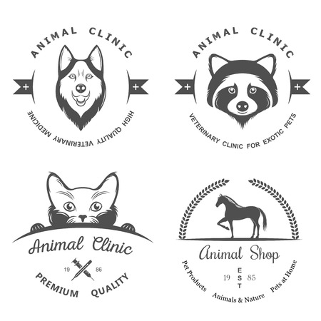 shop for animals: Set of vintage icon and elements for pet shop, pet house, pet and exotic animals clinic.