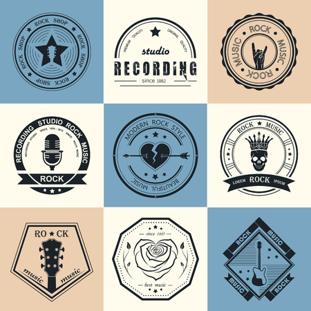 hard rock: Set of icon rock music and recording studios. Music design elements with font type and illustration vector. Vintage label Rock Beast ( T-Shirt Print ). Illustration