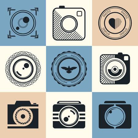 写真のロゴのテンプレートのベクター コレクション。写真のビンテージとモダンなバッジと写真ラベル。Photocam ロゴタイプ。