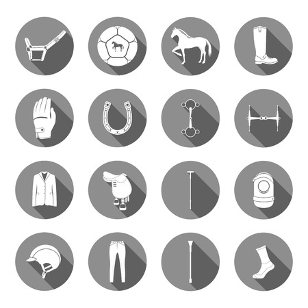 hippodrome: Vector set of icons and symbols for sports games polo. Silhouettes of horses and equipment player - stock vector. Illustration