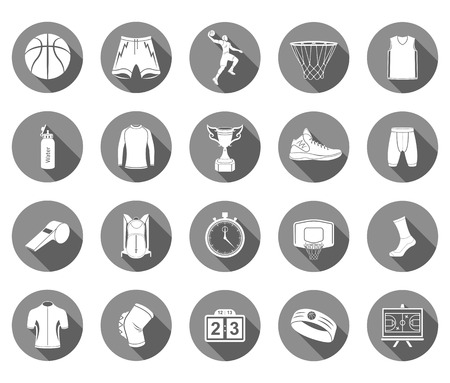 basketball: Basketball icon set - stock vector. Large set of symbols, icons of basketball. Sports equipment, protection, trackers, silhouettes of players, uniforms, clothing and shoes.