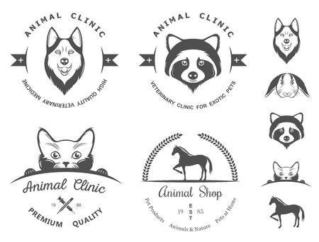 huskies: Set of vintage icon . Illustration