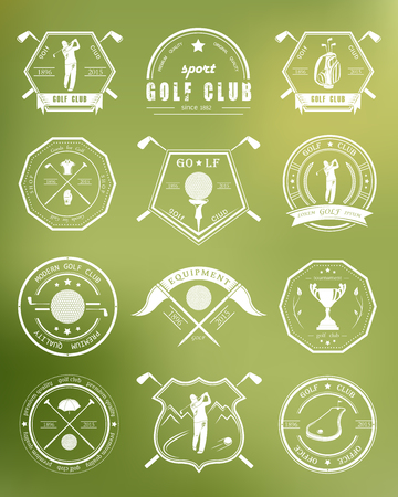 golf bag: Vector set of golf club icon, labels and emblems.  Illustration