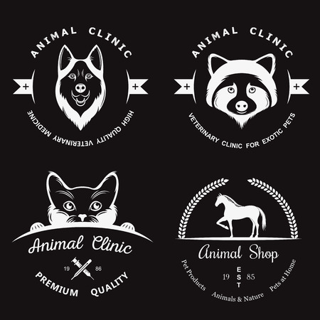 huskies: Set of vintage icon.