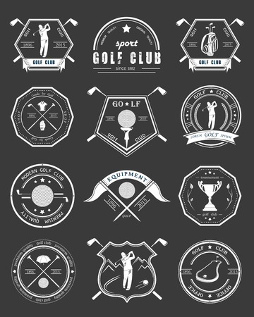 golf bag: Vector set of golf club icons.