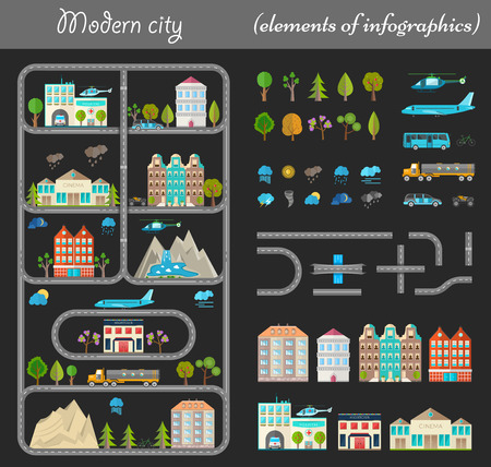 city night: Elements of modern city night. Design your own town. Map elements for your pattern, web site or other type of design. Vector illustration.
