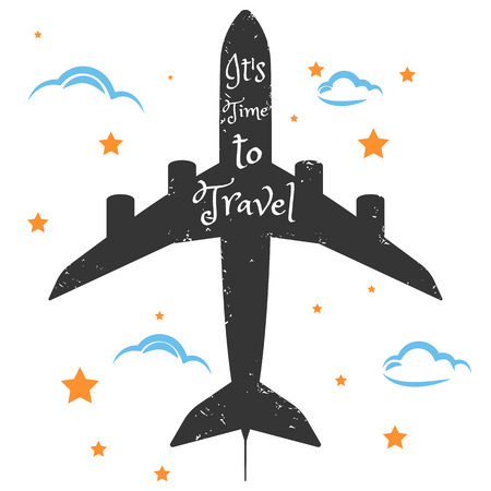 Messy hand drawn travel poster. Plane with inspirational quote card. Inspirational vector typography. Vector