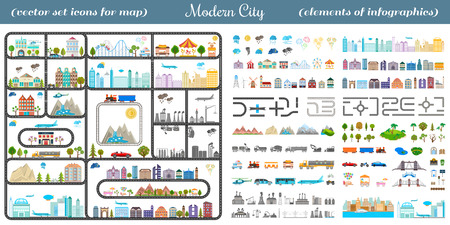 Elements of the modern city. Design your own town. Map elements for your pattern, web site or other type of design. Vector illustration. 免版税图像 - 38019002