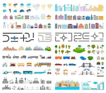 현대 도시의 요소. 자신 만의 도시를 디자인합니다. 사용자의 패턴, 웹 사이트 또는 다른 타입의 설계를위한지도 요소. 벡터 일러스트 레이 션. 일러스트