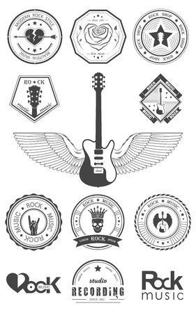 ロック音楽とレコーディング スタジオのセットです。フォントの種類やイラスト ベクトルでデザイン要素と音楽。ヴィンテージ ラベル ロック ビー