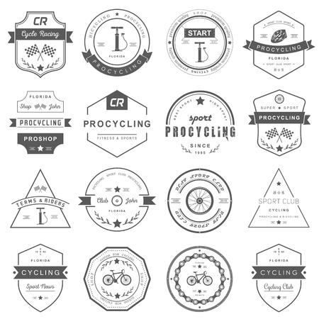 ciclismo: Conjunto de insignias de ciclismo. S�mbolos y emblemas pro tienda de bicicletas y equipo, club de ciclismo y talleres de reparaci�n.