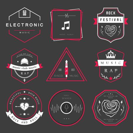 ベクトル バッジ ロック音楽、ラップ、クラシックと電子音楽。ベクトル祭りとコンサート、web デザインと声の要素の検索、t シャツのプリント。