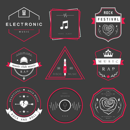 Vector badges rock music, rap, classical and electronic music. Vector festivals and concerts, elements of web design and voice search, prints for T-shirts. 矢量图像
