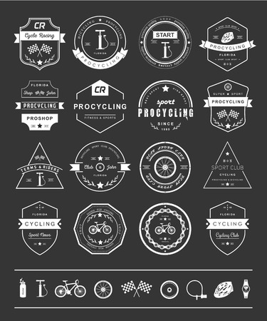 Set of badges cycling. Symbols and emblems pro bike shop and equipment, cycling club and repair shops. Illustration