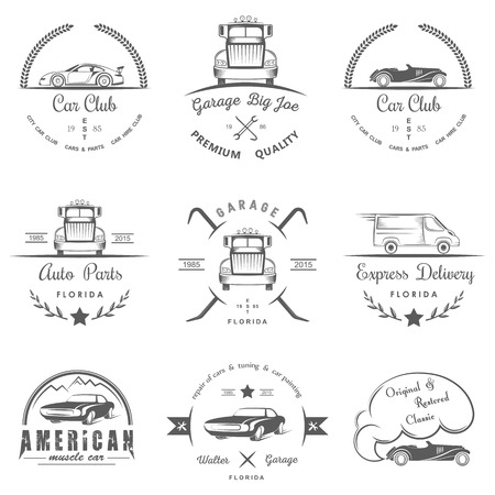 drift: Set of vintage car club, drift club, auto parts and garage labels, badges and design elements. Badges trucks, vintage cars and sports cars. Illustration