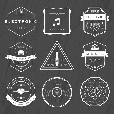 electronic music: Vector distintivi musica rock, rap, classica e musica elettronica. Festival e concerti vettoriali, elementi di web design e di ricerca vocale, stampe per T-shirt. Vettoriali