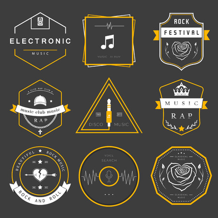 rap music: Vector badges rock music, rap, classical and electronic music. Vector festivals and concerts, elements of web design and voice search, prints for T-shirts. Illustration