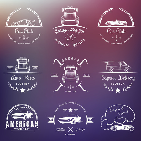 auto parts: Set of vintage car club, drift club, auto parts and garage labels, badges and design elements. Badges trucks, vintage cars and sports cars. Illustration