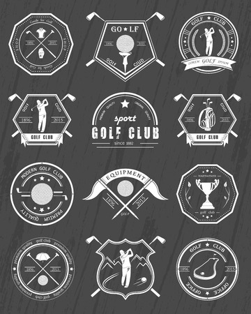 golf man: Vector set of golf club, labels and emblems. Golfer playing vector design template. Concept icons organization tournaments golf clubs.