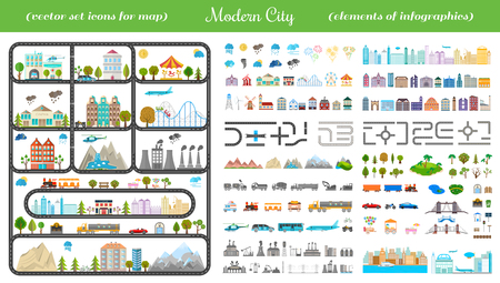 town: Elements of modern city. Design your own town. Map elements for your pattern, web site or other type of design.