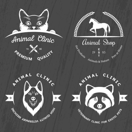 Set of vintage elements for pet shop, pet house, pet and exotic animals clinic. Illustration