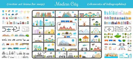 Elementos de la ciudad moderna. Diseña tu propia ciudad. Mapa elementos para su patrón, sitio web u otro tipo de diseño. Vectores