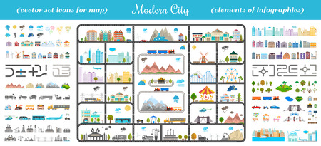 with sets of elements: Elements of modern city. Design your own town. Map elements for your pattern, web site or other type of design.