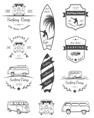 Vector badges and logos surfing, boards and equipment shops, beaches. Stock Illustratie
