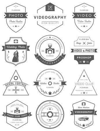 Vector collection of photography and videography  templates. Photocam, wedding and aerial footage. Photography vintage badges and icons. Modern mass media icons. Photo labels.