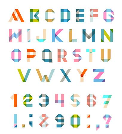 アルファベット設定楽しい幾何的なフォント。
