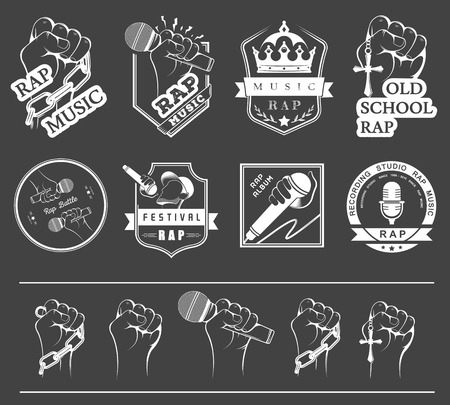 Set of vector logos, badges and stickers Hip Hop and Rap music. Collection of emblems rap battle, rap club and rap festival. Rap logos in style of Digital Art