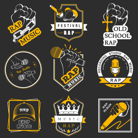 rap: Set of vector logos, badges and stickers Hip Hop and Rap music. Collection of emblems rap battle, rap club and rap festival. Rap logos in style of Digital Art
