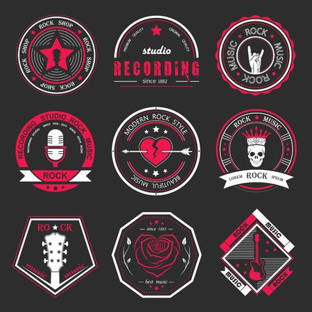 estudio de grabacion: Conjunto de la música rock y el logos estudios de grabación. Elementos de diseño de la música con el tipo de letra y la ilustración vectorial. Etiqueta del vintage de la roca Bestia (T-Shirt Print).