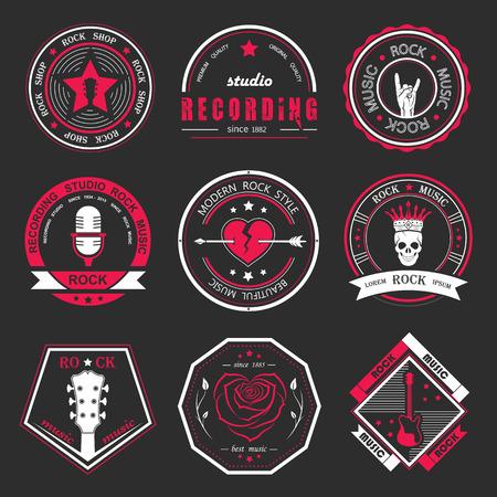 Set di musica loghi roccia e studi di registrazione. Elementi di design musica con il tipo di font e illustrazione vettoriale. Etichetta Vintage Rock Beast (T-Shirt Print). Archivio Fotografico - 40056343