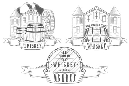 watermill: Vector set illustration,badges for alcohol bar, tavern and department whiskey or beer and wine in shop. Collection emblems in form barrels and castles Illustration