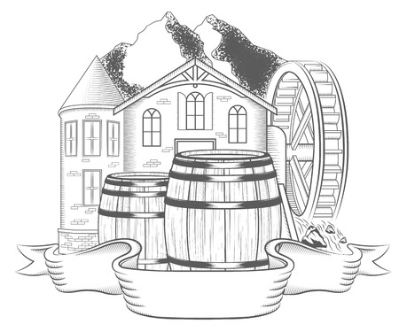 watermill: Vector illustration of water mill on a white background. Black and white Illustration old mill with waterwheel and label for your brand name - stock vector Illustration