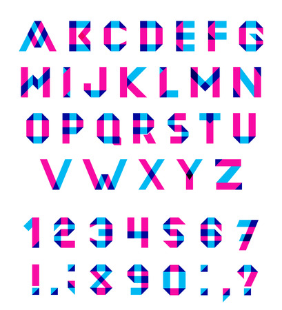 multiply: Vector conjunto del alfabeto de la fuente geom�trica diversi�n. Fuente de vector con trazos superpuestos y colores mezclados. Modo de fusi�n Multiplicar. Vectores