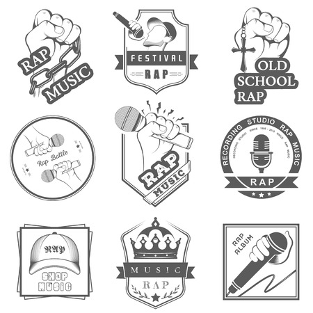 Set of vector , badges and stickers Hip Hop and Rap music. Collection of emblems rap battle, rap club and rap festival. Rap logos in style of Digital Art