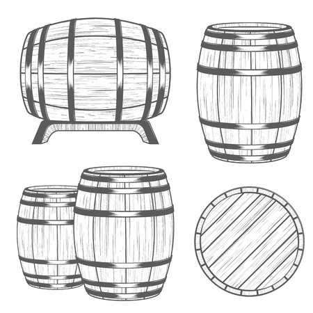 cooper: Vector set of barrels in vintage style. Collection barrels on a white background - stock vector.