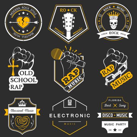 electronic music: Insieme dei distintivi vettoriali e della musica rock e rap musica classica, musica elettronica e discoteca. La raccolta di simboli ed emblemi per la stampa T-shirt, sagre e feste.