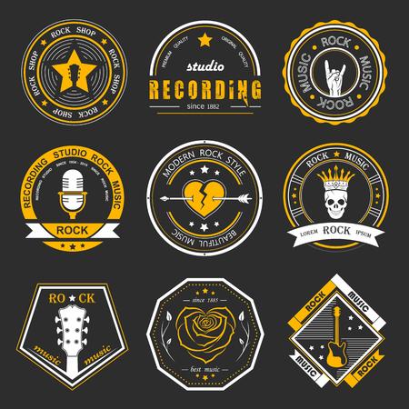 estudio de grabacion: Conjunto de la música rock y estudios de grabación. Elementos de diseño de la música con el tipo de letra y la ilustración vectorial. Etiqueta del vintage de la roca Bestia (T-Shirt Print). Vectores